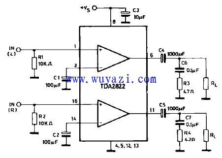 用TDA2822製作的立體聲迷你小功放電路   研發互助社區