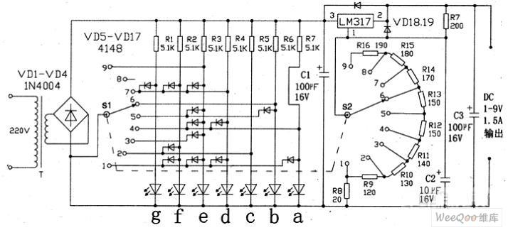 1-9V穩壓電源數字顯示電路圖   研發互助社區