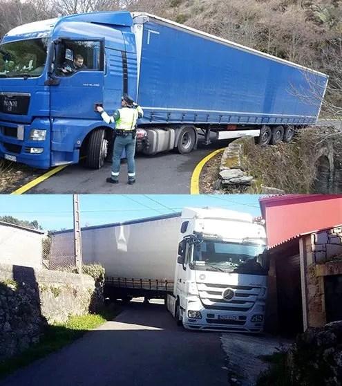 camion atascado por no usar gps para camión