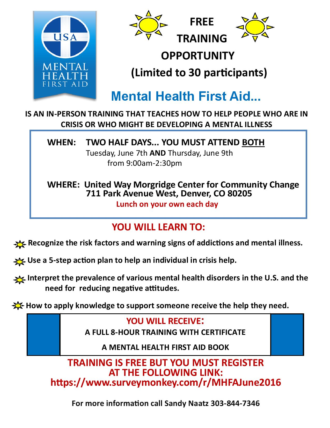 Free Mental Health First Aid Training on June 7th