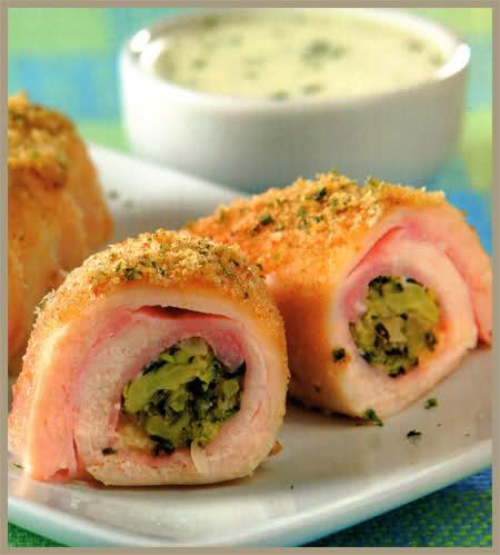 rollitos de pollo y brócoli