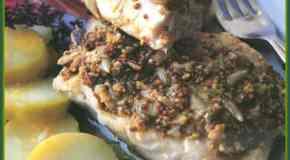 Salmón a la mostaza y pimientas