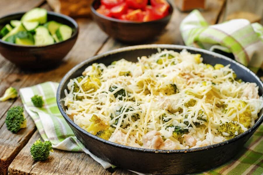 Arroz con pollo brocoli y coliflor