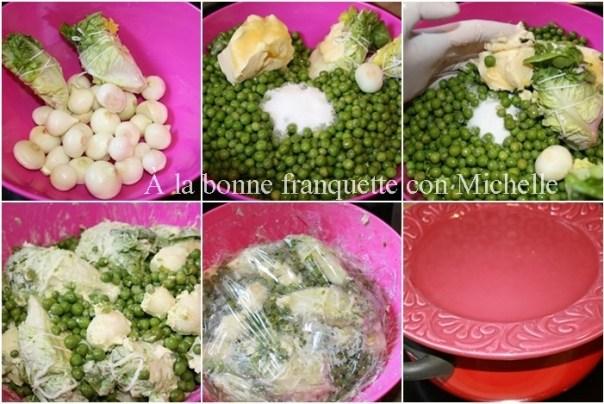 "Petits pois à la française, guisantes con lechuga y cebollitas ""grelot"" confitadas"