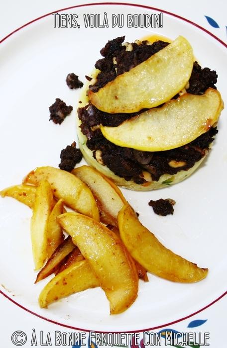 Boudin de París. Guarnición de manzanas y puré de patatas