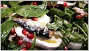 ensalada de sardinas y rúcula
