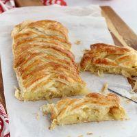 Trenza con queso, cebolla y manzana