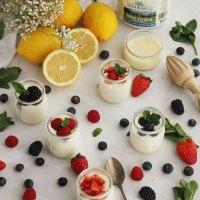 Crema de limón, yogur y leche condensada con frutos rojos