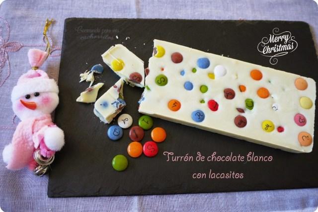 turrón de chocolate blanco con lacasitos