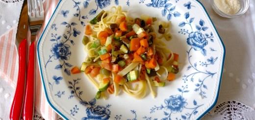 Pasta con verduras de otoño