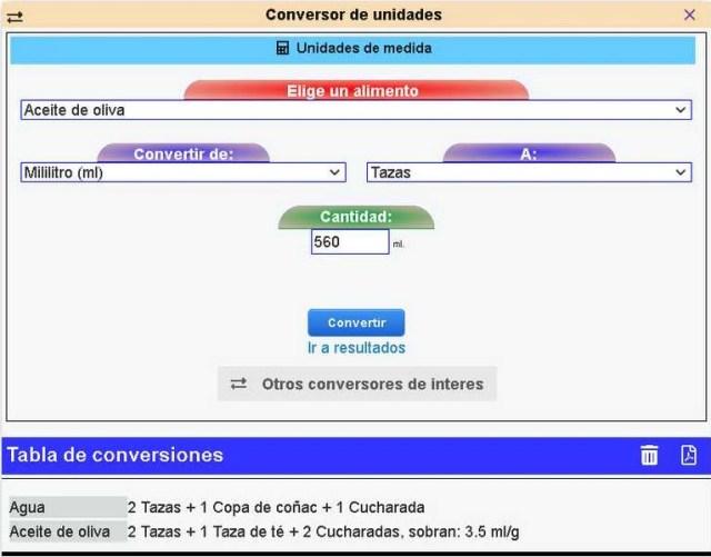 Imagen que muestra como es el conversor de unidades