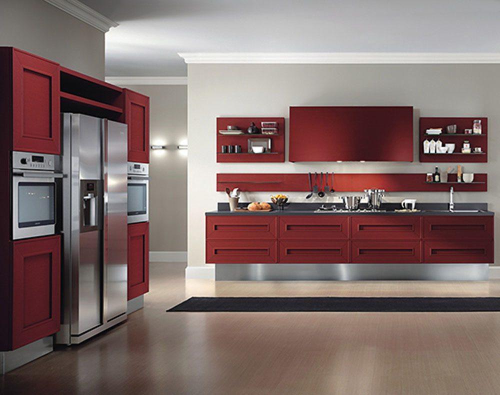 Cocina moderna en tonos rojos  Imgenes y fotos