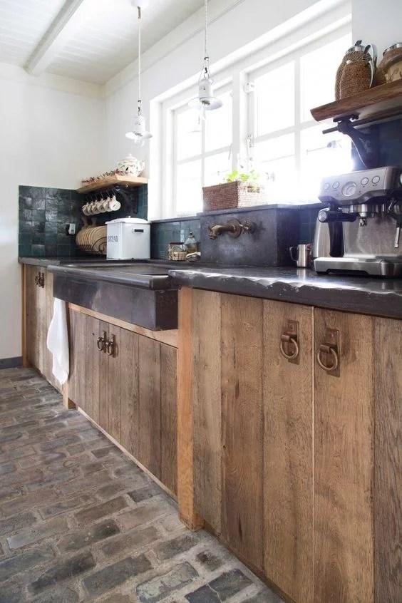 Cocinas Rsticas de madera piedra ladrillo y diseos