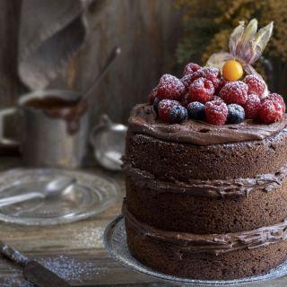 Bizcocho de chocolate esponjoso con frutos rojos
