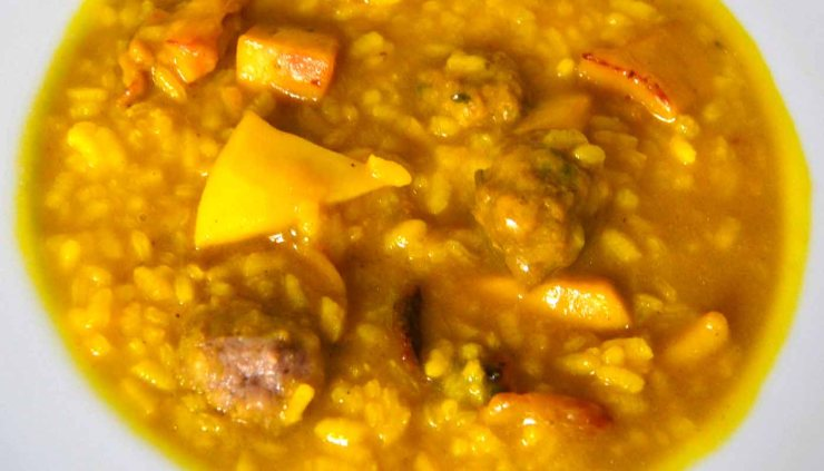 Receta de arroz caldoso con albóndigas y sepia - recetas de arroces caldosos - recetas realfooding o real food