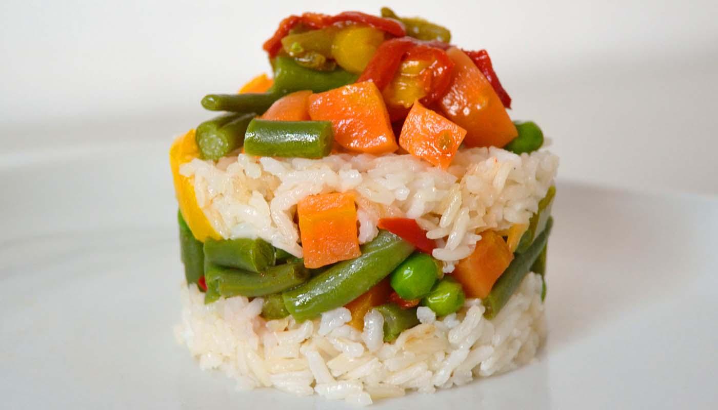 Receta de timbal de arroz hervido con verduras - recetas de arroces - recetas realfooding o real food