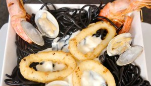 Receta de pasta al nero di sepia con mariscos - recetas de pasta - recetas realfooding o real food
