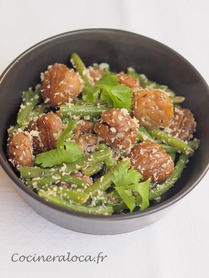 Haricots et marrons sautés à la noix de coco et aux épices