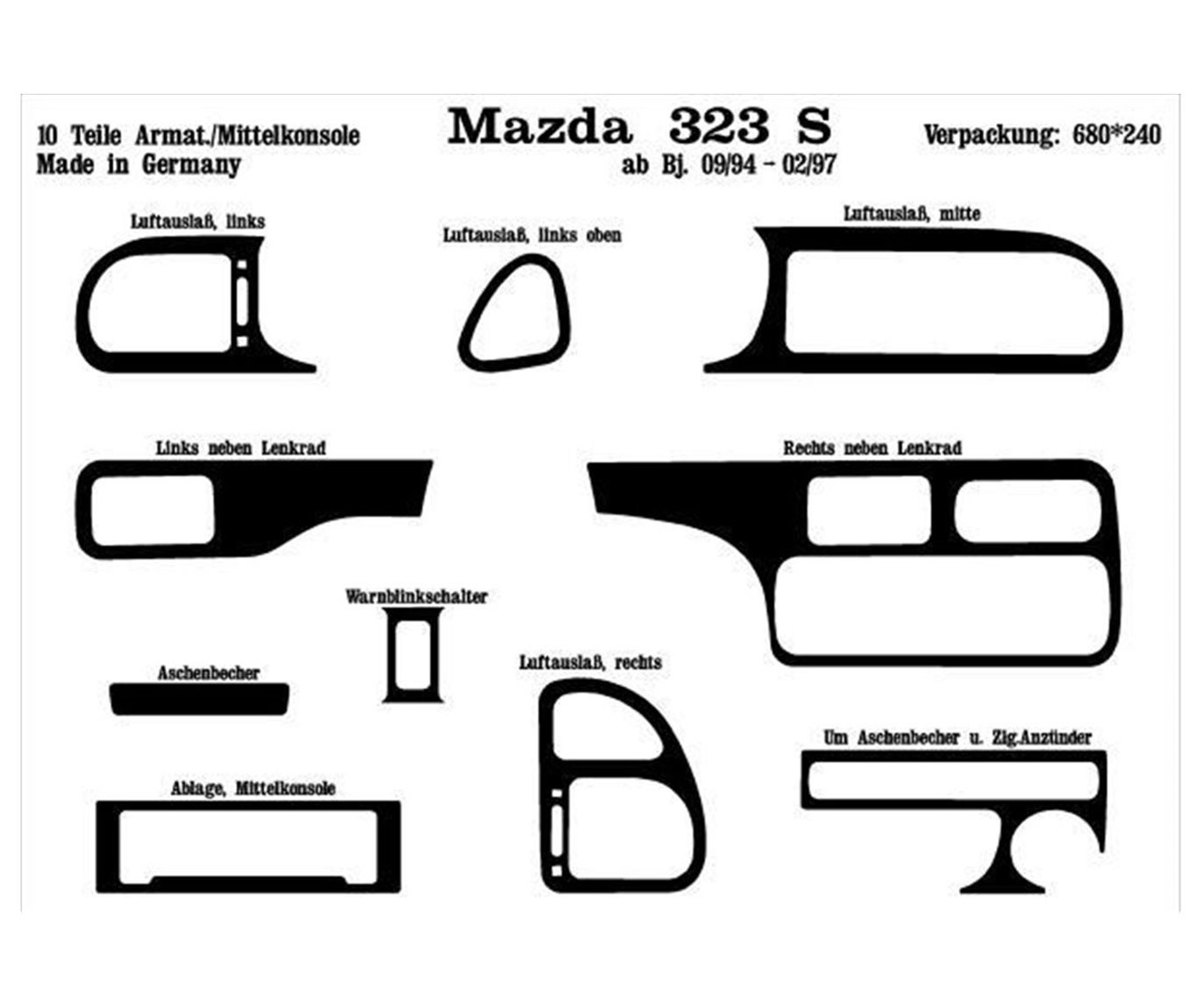 Mazda 323 S 01.1994 3M 3D Interior Dashboard Trim Kit Dash