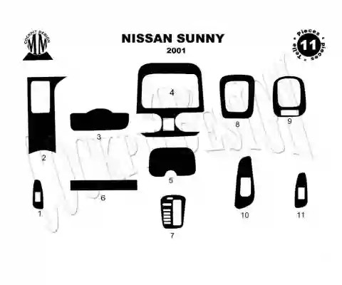 Nissan Sunny 01.2001 3M 3D Interior Dashboard Trim Kit