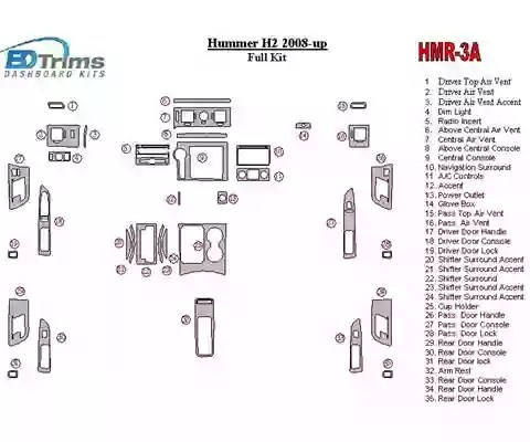 Hummer H2 2008-UP Full Set Interior BD Dash Trim Kit