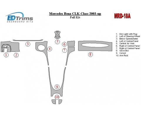 Mercedes Benz CLK 2003-UP Full Set Interior BD Dash Trim Kit