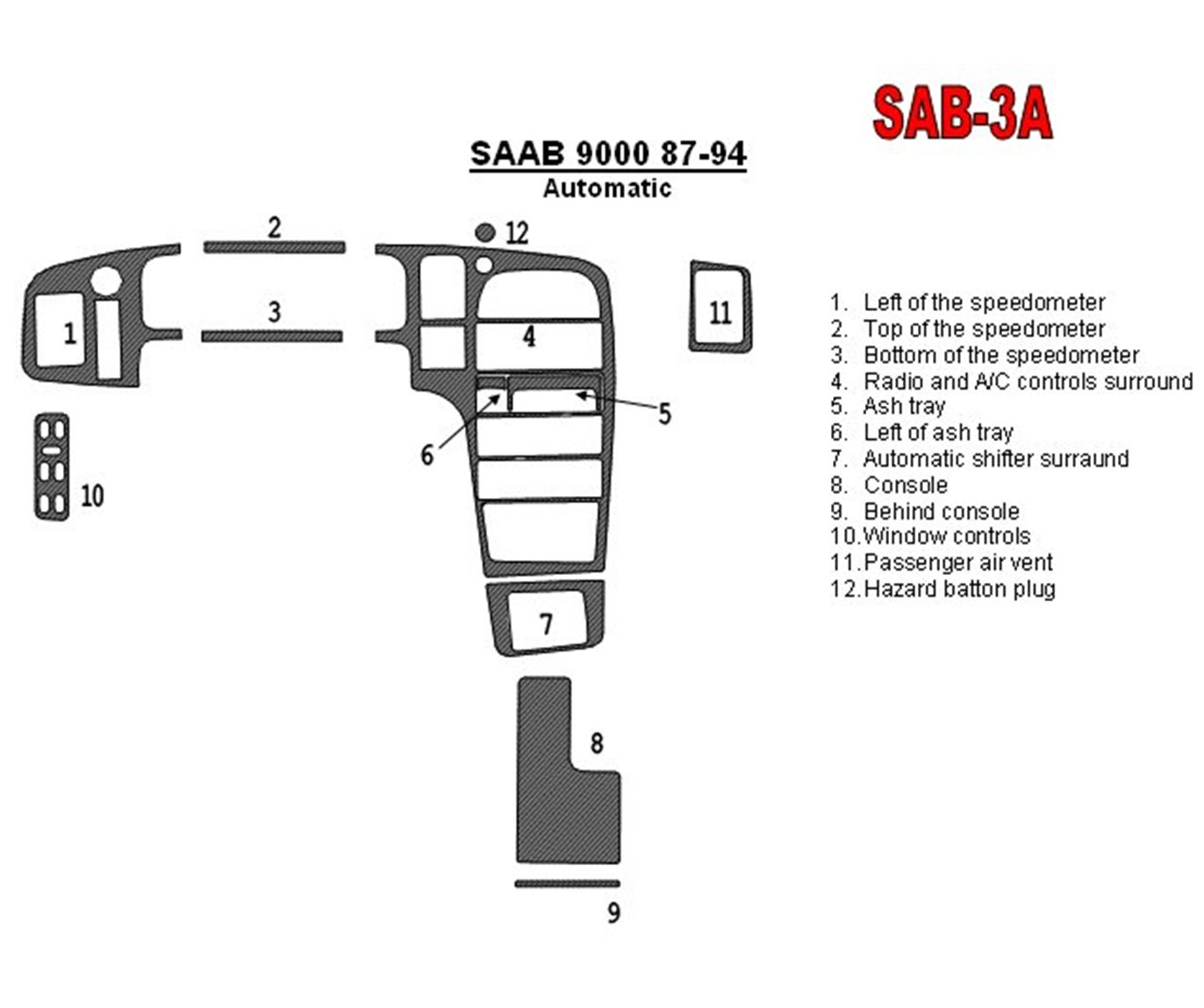 Saab 9000 1987-1994 Automatic Gearbox 12 Parts set