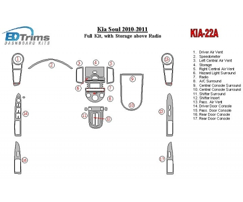 KIA Soul 2010-UP Full Set, With Storage above Radio