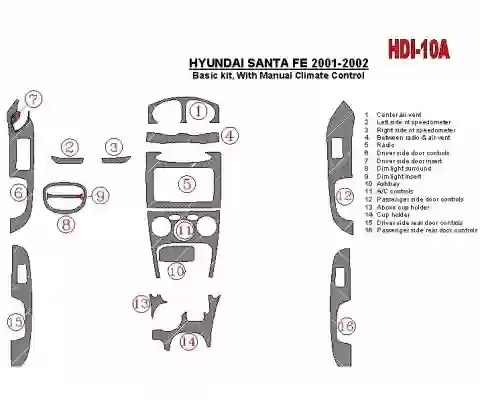 Hyundai Santa Fe 2001-2002 Paquet de base, With Manual