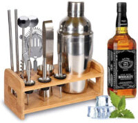 Cocktail-Set-Geschenk-Cocktail-Shaker-Edelstahl-550ml-Barzubehoer