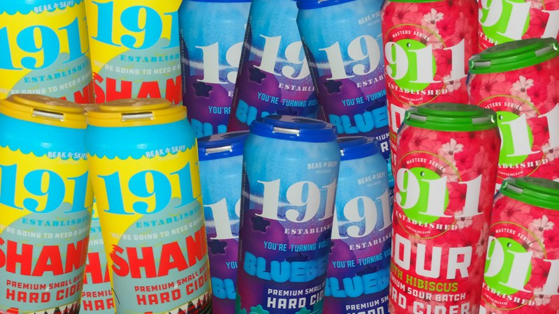 1911 Hard Cider Labels Copied Across the Screen as a Pattern and Hue Color Shifted for Aesthetics