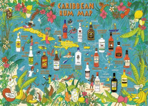 蘭姆酒 - 加勒比海地圖