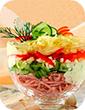 Салат-коктейль с ветчиной, сыром и огурцом