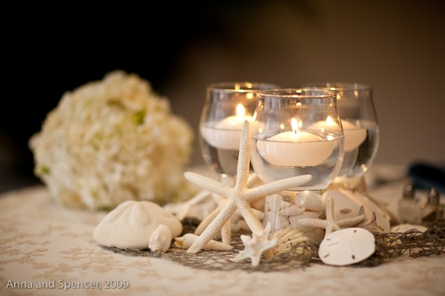 Beach inspired shell centerpieces