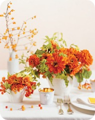 orange zinnias flowers for carnival coney island wedding