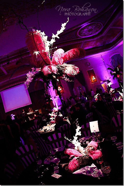 pink and black feather wedding centerpiece