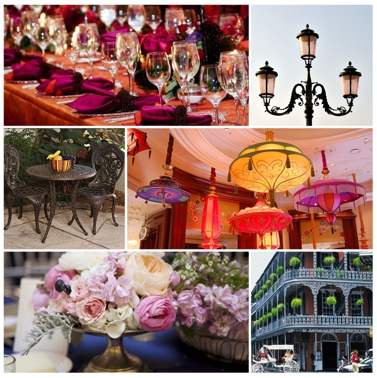 New Orleans inspiration board for weddings and events