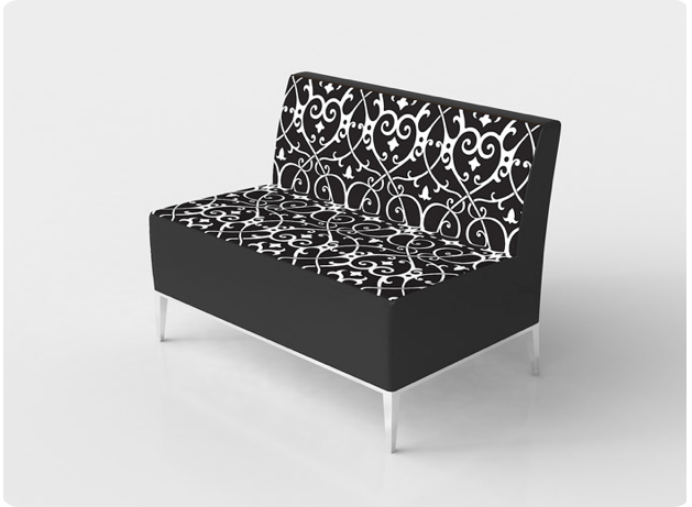 black and white damask print swirl lounge furniture by cort essex collection
