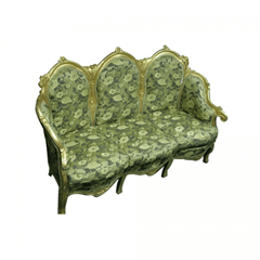 Marie Antoinnette green and gold wedding reception decor chair sofa