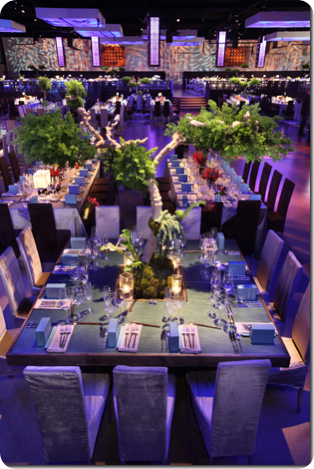 Square table with  tree centerpiece