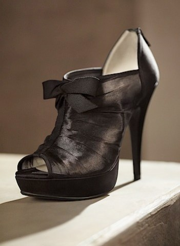 satin black bow bootie from vera wang