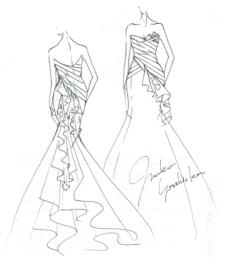 Junko Yoshioka wedding dress sketch for Anne Hathaway