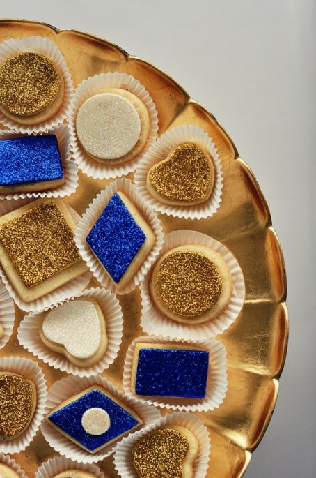 Gold, ivory blue cookies with glitter