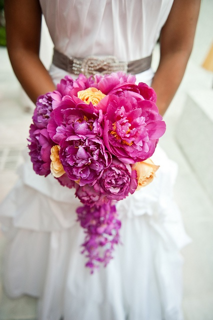 fuchsia, purple yellow wedding bouquet
