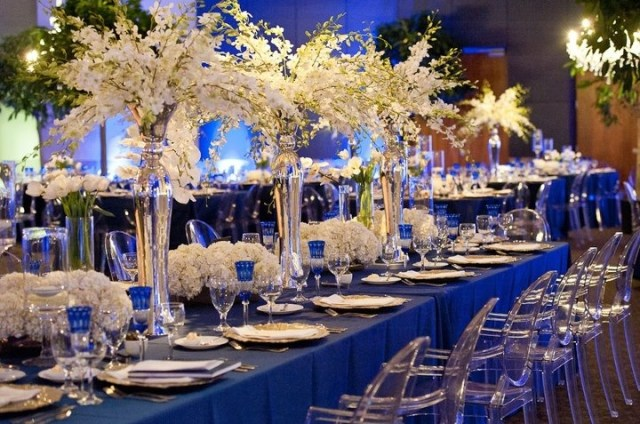 Tall and Low centerpieces on estate tables