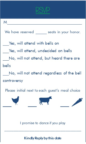 Graphic Choices  with Fun wording on RSVP
