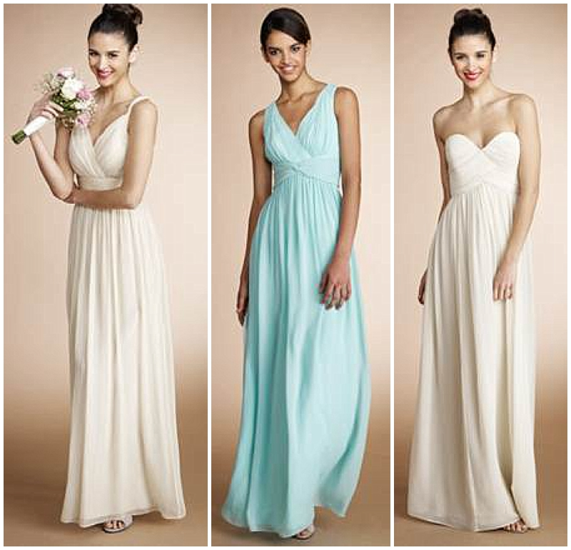 soft color long bridesmaids dresses from donna morgan