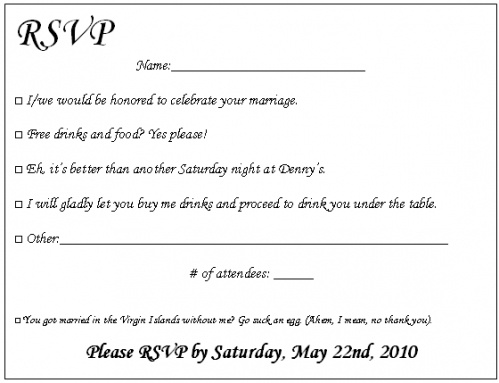 Funny ways to rsvp