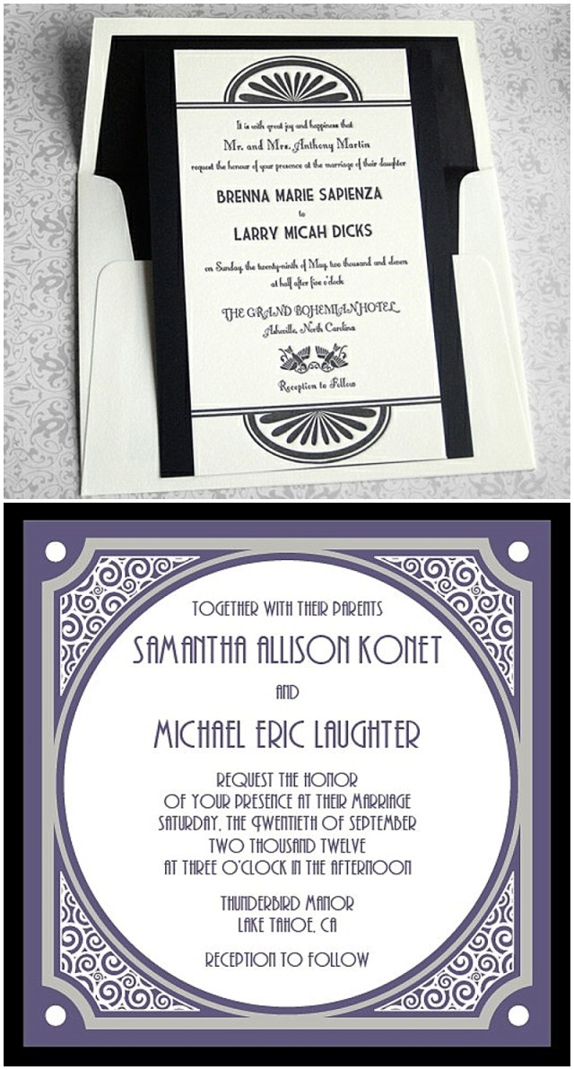 Art Deco Great Gatsby Inspired Wedding Invitations