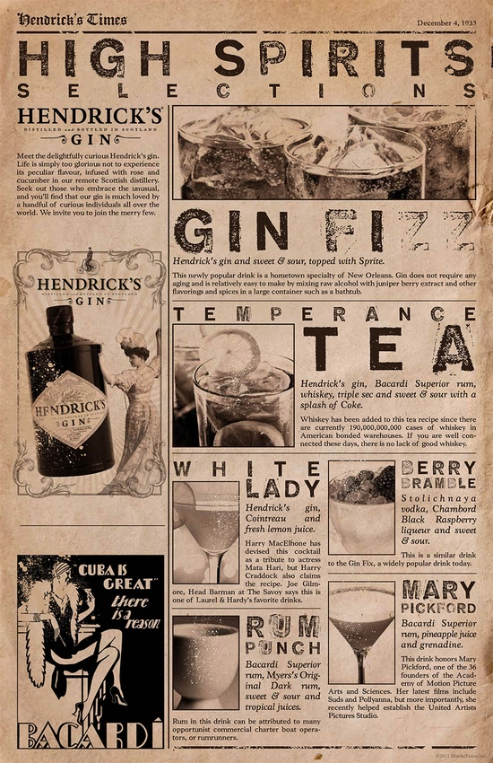Vintage Speakeasy Menu
